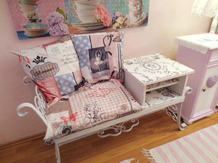 einzelst ck nostalgie romance shabby chic garderoben bank wei kissen elfenhaus ebay. Black Bedroom Furniture Sets. Home Design Ideas